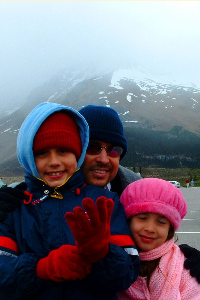 Me and my kids at Athabasca Glacier in Jasper