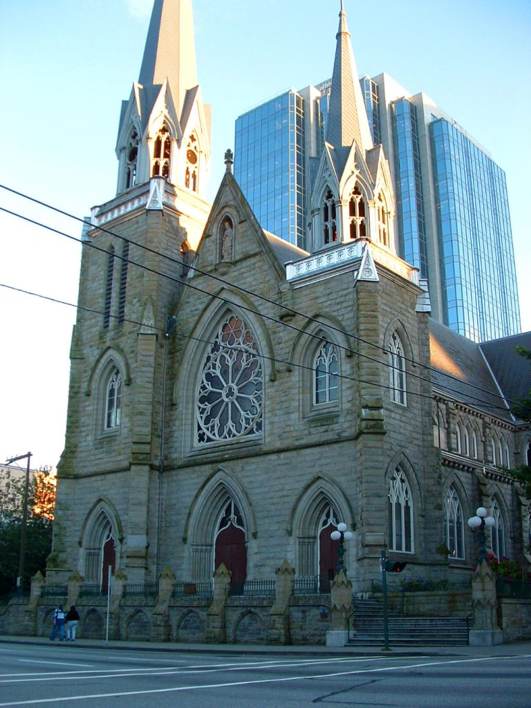 The towering Cathedral of the Holy Rosary in Vancouver, Canada